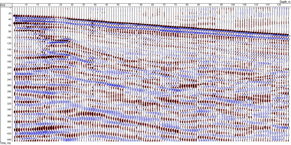 Example of field data for VSP on P- waves, obtained with usage of GStreamer geophone array
