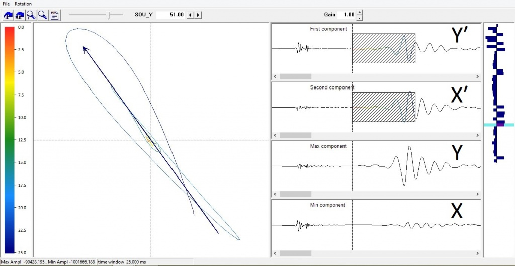 An illustration of the process of orienting the seismic record in XY plane in RadExPro Plus program